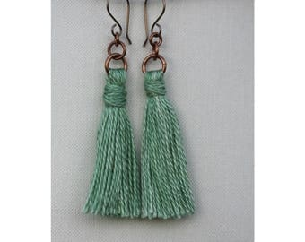 Silk tassel earrings // Handmade from hand dyed silk // Metal options including fine silver //Made to order