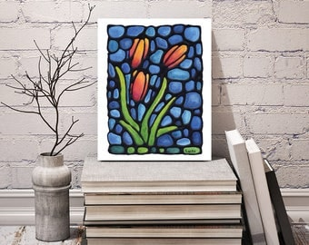 Tulip Art Print - FREE Shipping - Orange & Red Tulip Artwork - Floral Wall Hanging - Powder Room Art - Art Nouveau Print - Stained-Glass