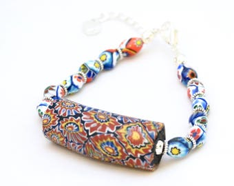 Vintage Large African Trade Bead bracelet with handmade millefiori clay beads, bracelet, ethnic, tribal, travel inspired