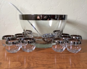 Vintage Mid Century Silver Band Roly Poly Glasses Punch Bowl Set With Ladle, 12 Silver Rim Glasses, Dorothy Thorpe Style, Mid Century Modern