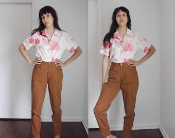 "Vintage ""Chic"" High Waist Rust Brown Skinny Jeans 26x31"