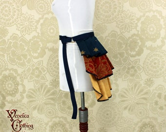 "Steampunk Wonder Woman Inspired Ruffle Bustle Overskirt - 3 Layer, Sz. XS - Fits up to 35"" Waist/Upper Hip -- Ready to Ship"