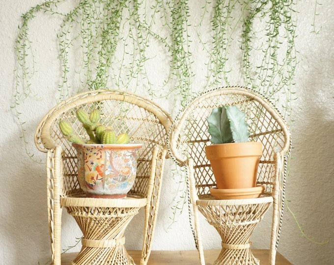 Vintage Wicker Peacock Chairs / Planters / Decorative Displays