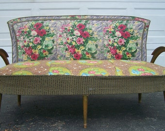 vintage french style sofa,settee,couch,cottage style floral sofa,hollywood regency,eclectic bohemian living room sofa,shabby chic sofa