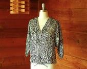 vintage silk zebra print blouse / size medium