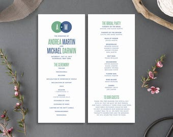 Printable Wedding Program - Venn Diagram