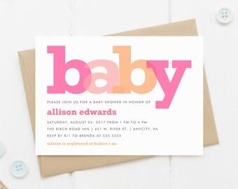 Printable Baby Shower Invitation, Colorful