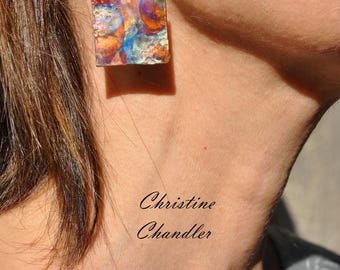 Single Square Flame Painted Copper Earrings - Square Copper Earrings - Flame Painted Copper Jewelry - Copper Jewelry - Christine Chandler