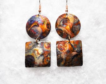 Geometric Shape - Copper Earrings - Circle and Squares - Hanging Long Earrings - Copper Jewelry - Flame painted copper jewelry - Steampunk