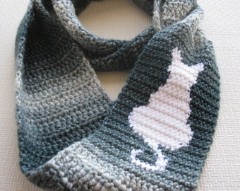 Cat Scarf. Infinity, crochet scarf with a white cat silhouette. Sitting cat, circle scarf.  Cat lover gift