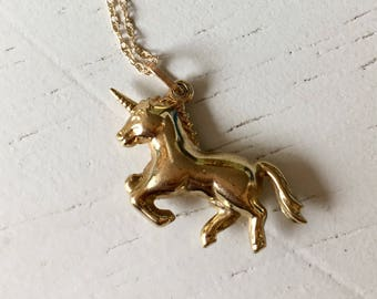 Magical 9k Gold Unicorn Charm Pendant
