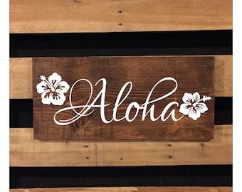 Aloha Sign   Wood Sign   Welcome Sign   Beach Sign   Rustic Sign   Beach Decor   Hawaiian Decor   Hibiscus Flower   Beach House   22550