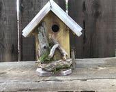 Wooden Birdhouse Outdoor Garden Bird House Functional Bird's Nesting Home Handmade, Hand Painted Yellow & White, Item #595046567