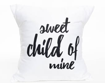Sweet Child of Mine | Guns and Roses | Quote | Baby's Room | Nursery | Children's Room | Pillow Cover | Baby Shower Gift | Little Rock Star