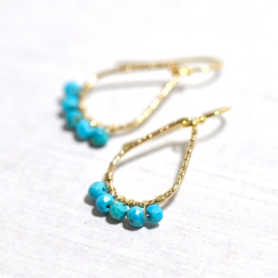 Delicate Turquoise Earrings in Gold, dainty Turquoise earrings, DecemberBirthday Gift, Turquoise Jewelry, Wife Gift, Turquoise Gold earrings
