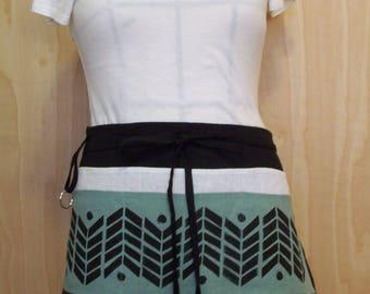 Cafe apron, utility apron, half apron, linen 6 pocket apron