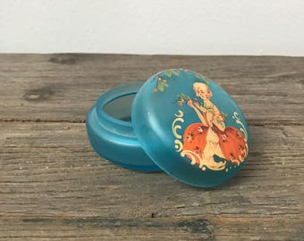 Vintage glass turquoise hand painted small round vanity box with lid
