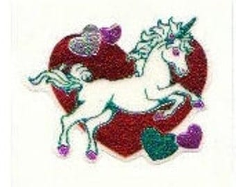SALE Unicorn Heart Vintage Fuzzy and Foil Embossed Sticker - 80's Scrapbook Scarlet Crimson Teal Lilac Purple Silver Fantasy