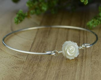 White Mother of Pearl Flower Bangle Bracelet- White Carved Rose and Sterling Silver Filled Wire Wrapped Bracelet- Custom Made to Size