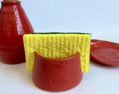 RESERVED for Sara: Pottery Sponge Holder, Pottery Spoon Rest, Handmade Ceramic Stoneware, Red Kitchen Ware