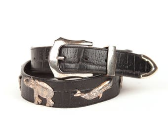 vintage safari animals belt // black leather