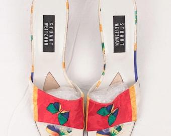 butterfly print kitten heels // stuart weitzman // size 9.5