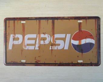 Retro Style PEPSI Logo Tin Sign, Metal Advertisement, Store Sign, Restaurant Metal Sign Display, Decorative Tin Sign, Metal License Plate