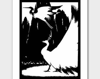 "Peacock Art (Black and White Home Decor, Bird Nursery, Silhouette Print) ""Peacock & the Crane"" --  Fairy Tale Book Illustration"