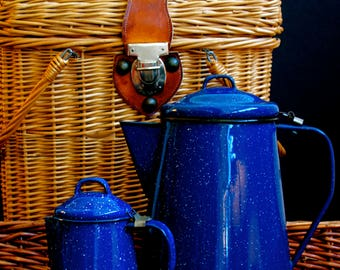 blue enamelware coffee and tea pot set / county decor/ camping
