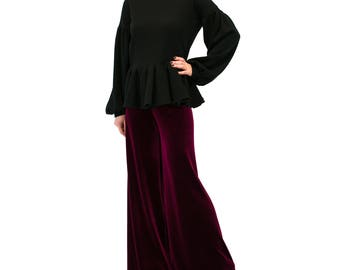 Loose women pants/ VELVET pants/ Burgundy Palazzo pants/ Wide leg pants/ Loose pants/ Wide leg trousers/ Palazzo trousers/ wide leg pants