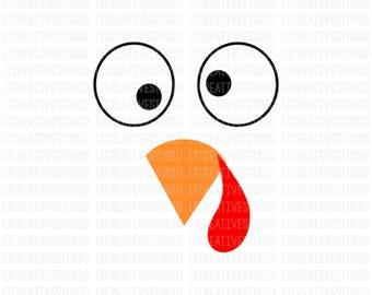 Turkey SVG, Turkey Face SVG, Thanksgiving SVG, Thanksgiving, Turkey Clipart, Turkey Feathers, Silhouette Cut Files, Cricut Cut Files