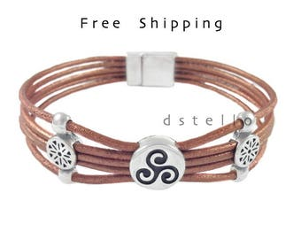 Celtic bracelet - Custom womens leather bracelet- Triskelion bracelet - Triskele - Irish - Scottish - Celtic Triple spiral - Gift for her