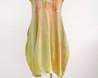 linen bauble ballon dress L plus size unique fashion design mustard yellow ombre hemp flax natural eco wearable art to wear artsy, woman B2