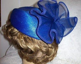 Vintage 1980s Ladies Royal Blue Pillbox Fascinator Hat Only 10 USD