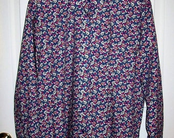 Vintage Ladies Blue Floral Print Long Sleeve Blouse by Orvis Size 16 Only 8 USD