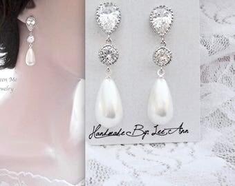Pearl drop earrings, Sterling posts, Long pearl earrings, Elegant pearl earrings, Pearl earrings,Brides pearl earrings,High quality, Classic
