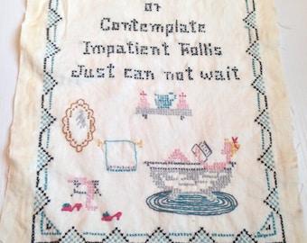 Vintage Embroidered Cross Stitch Sampler