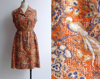 Vintage 70's 'Birds & Orchids' Indonesian Batik Print Day Dress M or L