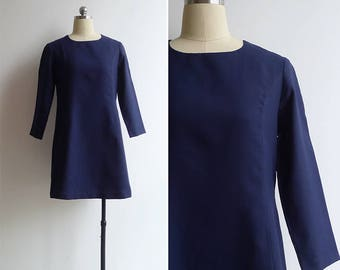 10-25% OFF Code In Shop - Vintage 80's Navy Blue Shift Dress with Three Quarter Sleeves S or M