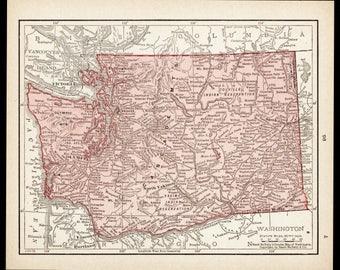Small Washington Map of Washington State (Antique Wall Art Print, Map Wall Decor, Vintage Color Map) Old 1900s Atlas Map No. 95-3