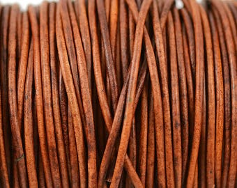 2mm Natural Light Brown Leather Round Cord - Distressed Matte Finish