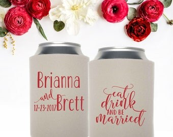 Eat Drink and be Married Can Coolers   Wedding Favors   Save the Date