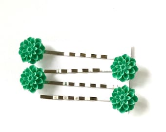 Flower Bobby Pins, Turquoise Green Flower Bobby Pins, Decorative Bobby Pins, Christmas Bobby Pins, Hair Accessories,Hair Pins, Ready to Ship