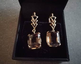 Vintage Art Deco 14Kt Gold Smoky Quartz Earrings