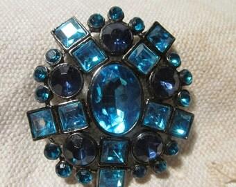Vintage Turquoise & Navy Blue Rhinestone Pin Brooch