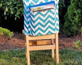 Preschool Chair Pockets // Teacher Classroom Storage <<12 inch VALUE>> Turquoise Chevron // CoffeeKidsNDolls // End of Year SALE