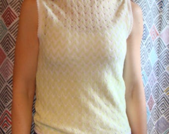 KNIT LACE SHELL sheer sleeveless sweater xs lime white