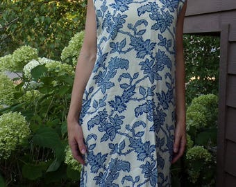 ROYAL BLUE on IVORY woven 1960's shift dress 60's vintage L 41 bust