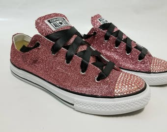 Adult Bling Full Glitter Salmon Pink Converse - Pink Rhinestones Pink Glitter Shoes
