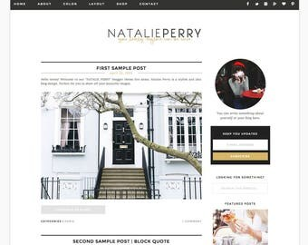 """Wordpress Theme Responsive Blog Design """"Natalie Perry"""" - Cute and gold"""